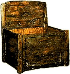 The Oseberg (Norway) box chair.  Conservation has removed all traces of painted design.