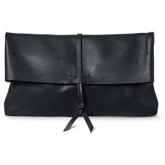 Tie & Roll Top Leather Clutch - New - Oliver Bonas ❤ liked on Polyvore featuring bags, handbags, clutches, leather handbags, olive purse, real leather purses, leather purses and olive handbag