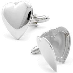 Silver Heart Cufflinks, Black Friday Sale / Cufflinksman
