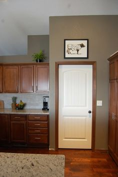 Living Room Paint Yellow With Wood Trim Kitchen Paint Colors, Room Paint Colors, Paint Colors For Living Room, Interior Paint Colors, Paint Colors For Home, Mocha Color, Cabin Paint Colors, Trim Paint Color, Kitchens