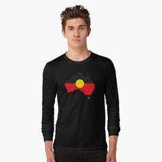 """Aboriginal Flag In Australia Map #1"" T-shirt by SalahBlt | Redbubble Aboriginal Flag, Labrador, Jack Black, Tshirt Colors, Female Models, Classic T Shirts, Long Sleeve Tees, Shirt Designs, Sleeves"