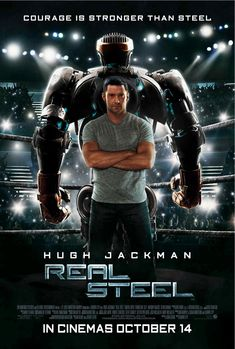 """Real Steel"" is an action drama about a former boxer (Hugh Jackman) who, against all odds, gets one last shot at a comeback when he teams up with his estrang. Hugh Jackman, Coyote Ugly, Tv Series Online, Movies Online, Man In Black, Sils Maria, 2011 Movies, Iconic Movies, Scary Stories To Tell"