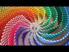 A 15-color rainbow spiral made with 12,000 dominoes | The Kid Should See This