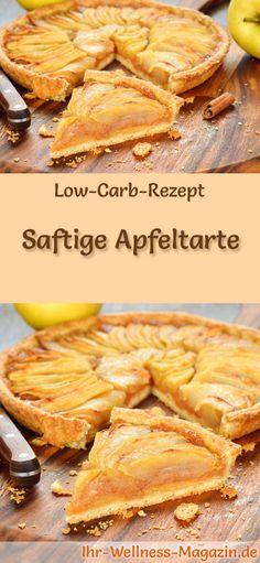 Rezept für eine Low Carb Apfeltarte: Der kohlenhydratarme, kalorienreduzierte Kuchen wird ohne Zucker und Getreidemehl zubereitet ... #lowcarb #kuchen #backen