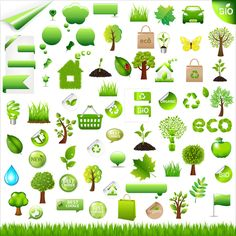 Free Eco with Bio Icons and Sticker