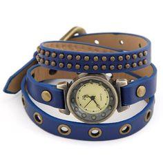 New Style Rock Rivets Leather Bracelet Woman Watches Wholesale Wathes Deep Blue