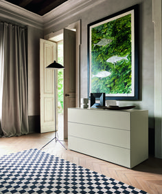 Encapsulating simplistic design, including a very minimalistic colour scheme, harmoniously contrasted by the primary green shown in the painting above; beautiful use of space and fantastic use of the drawers as a contrast. If you would like to find out more about our interior design services, simply send us a message or drop us a comment below 👇 Contemporary Tv Units, Modern Tv Units, Contemporary Furniture, White Sideboard, Modern Sideboard, Italian Furniture Design, Modern Drawers, Dining Table Chairs, Interior Design Services