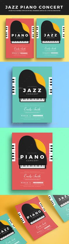 Jazz Piano Concert Flyer — Photoshop PSD #festival #simple • Download ➝ https://graphicriver.net/item/jazz-piano-concert-flyer/19561346?ref=pxcr