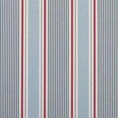 Curtain fabric Sail Stripe by Clarke & Clarke / Studio G in colour Marine at per metre inc VAT. Fabric available as a roman blind, custom curtain and hand sewn cushion cover. Pvc Fabric, Blue Fabric, Fabric Decor, Fabric Design, Fabric Crafts, Striped Curtains, Cotton Curtains, Striped Fabrics, Cotton Fabric