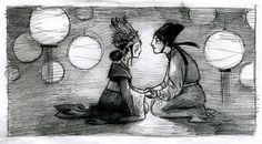 """Sketch from illustrations by Kelly Murphy for my story """"The Princess and the Golden Fish"""" which ran serialized in four parts in the Jan.-April 2011 issues of Cricket Magazine."""