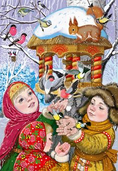 View album on Yandex. Ukrainian Christmas, Christmas Bird, Christmas Colors, Vintage Christmas, Winter Illustration, Christmas Illustration, Illustration Art, Vintage Cards, Vintage Postcards