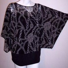Jennifer Lopez Top L Black Gray Chains Stretch Knit Dolman Sleeve Tunic Shirt L #JenniferLopez #KnitTop #Casual