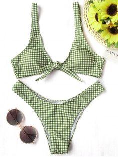 Front Tie Thong Plaid Bikini Set - WHITE AND GREEN XL