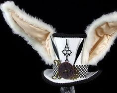Steampunk White Rabbit | The White Rabbit –Black and White Clockwork Bunny Eared Mini Top Hat ...