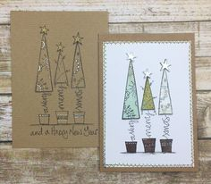 PaperArtsy: 2018 Topic Clean & Simple Christmas Ideas {Final Topic of Homemade Christmas Cards, Christmas Tree Cards, Christmas Makes, Christmas Gift Tags, Xmas Cards, Simple Christmas, Christmas Art, Handmade Christmas, Homemade Cards