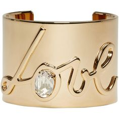 Lanvin Gold Love Cuff ($375) ❤ liked on Polyvore featuring jewelry, bracelets, accessories, joias, gold, gold cuff bangle, initial bangle, hinged cuff bracelet, gold jewelry and cuff bracelet