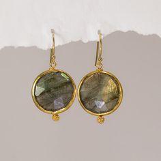 Labradorite earrings  bezel earrings  round gemstone by delezhen, $56.00