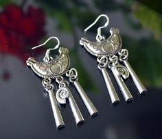 Silver Earrings Tribal Earrings Tribal Silver by LKArtChic on Etsy