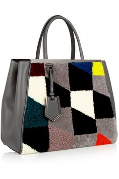 Fendi | 2Jours leather and printed shearling tote