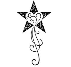 Star tattoo design with initial inside instead of scrollwork.