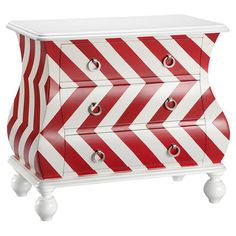 Showcasing a bombe-inspired silhouette and chevron motif, this 3-drawer chest brings a pop of pattern to your living room or master suite.  ...