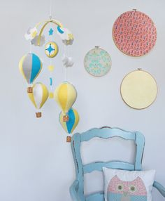 Hot Air Balloon Baby Mobile  Yellow Grey by BeeJanieBabyMobiles