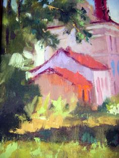"""""""French Schoolhouse"""" Specifications Artist: Winters, Connie Medium: Painting –Oil Size: 8""""x10"""" Description: Abstract of a French schoolhous..."""