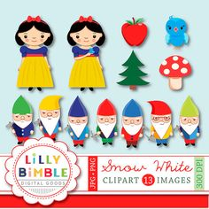 Snow White Clipart Images Fairy tale graphics for birthday parties, scrapbooking, design and crafts. Each item is saved individually as .jpg and a png. The pngs have transparent backgrounds. Snow White is approximately 8 inches tall and each dwarf is about 5 inches tall. Note* the drop shadows are for display purposes only and not see on the original files.  Matching papers are here: https://www.etsy.com/listing/125471001/snow-white-and-the-seven-dwarfs-digital  Includes: 1 Snow White…