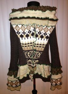 Recycled Brown and Tan Sweater Hoodie