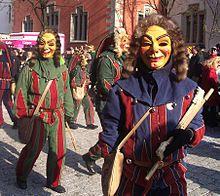 Papierkrattler masks at the Narrensprung 2005 Carnival parade, Ravensburg, Germany