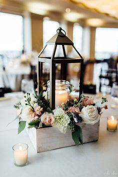 Lantern Centerpiece. Windowbox Display. Rustic Decor. Rosequartz Pink // Aiden Rhaa Photography | State Room, a LONGWOOD venue