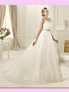 Whiet Ball Beaded One Shoulder Lace Tulle #2013 #Wedding #Dress