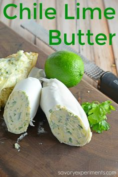 Lime Butter- a zesty blended butter perfect for corn on the cob and sautéing vegetables.…Chile Lime Butter- a zesty blended butter perfect for corn on the cob and sautéing vegetables. Butter Cheese, Herb Butter, Butter Paneer, Butter Bell, Butter Pasta, Butter Shrimp, Steak Butter, Flavored Butter, Homemade Butter