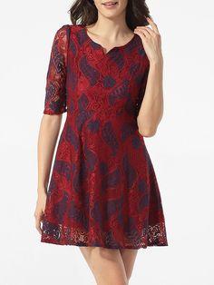 #AdoreWe #FashionMia Skater Dresses - FashionMia Split Neck Lace Floral Printed Skater Dress - AdoreWe.com
