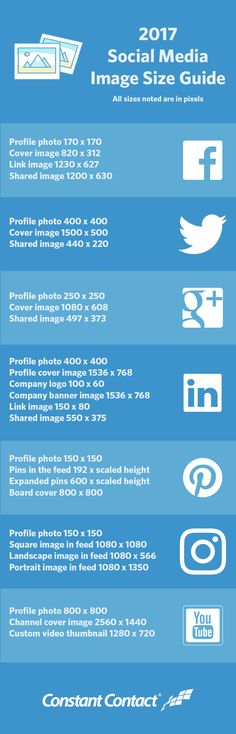Are you using the right social media image sizes for Facebook, Twitter, Instagram, LinkedIn, Pinterest, Google+, and YouTube? Use our size guide to be sure!
