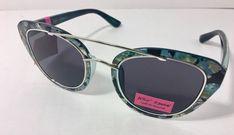 9e2acdafd55f BETSY JOHNSON Cats Eye Sunglasses Blue Black Marble Tortoise Color NEW