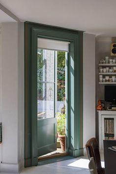 Farrow & Ball - Green Smoke 47 - Estate Emulsion L - Paint Interior Window Trim, Patio Interior, Best Interior, Interior And Exterior, Interior Design, Green Windows, Windows And Doors, Farrow Ball, Painting Trim