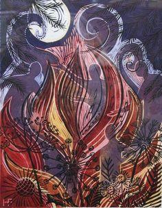 """""""Fire"""" by Hannah Firmin (linocut)"""
