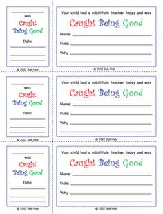 """Caught Being Good"" -- classroom management subbing freebie from subhubonline.blogspot.com"