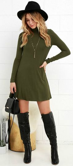 With infinite styling possibilities, the Sway, Girl, Sway! Olive Green Swing Dress will be a welcomed addition to your wardrobe! Super soft jersey knit fabric shapes a relaxed turtleneck and long, fitted sleeves, while a swing style bodice flares below for a darling finish. #lovelulus