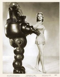 """Good girl deserves a good robot for herself. These images are promotional shots for the """" Forbidden Planet """" movie (1956) with Anne Francis ..."""