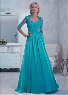 Chiffon A-line Gown Queen Anne Neckline Floor-Length Pleated Mother Dress