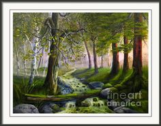 Daybreak In The Forest Framed Print By Wayne Enslow Artwork Prints, Framed Prints, Acrylic Paintings, Hanging Wire, Prints For Sale, Fine Art America, Life