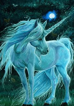 Unicorn on a moonlit night