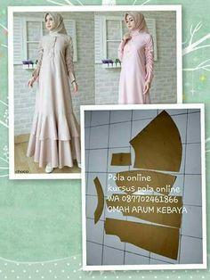 Dress Design Patterns, Long Dress Patterns, Dress Making Patterns, Easy Sewing Patterns, Clothing Patterns, Kaftan Pattern, Fashion Desinger, Kurta Designs Women, Hijab Fashion Inspiration