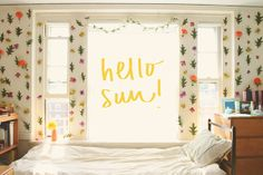 """Really neat floral """"wall paper"""". Perfect for dorm room or just rooms. I'd love to do this on empty sections in my room in a wall bouquet."""