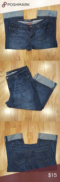 Merona Cuffed Crop Jeans Hardly worn jean crops from Merona.  Comes down right below the knees (on me - I'm 5'8).  Lots of wear left! Merona Jeans