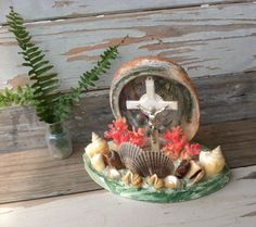 Kitsch Vintage Religious Shell Art With Crucifix - Retro Grotto Souvenir Shell Decor on SALE by happydayantiques on Etsy