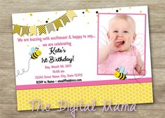 Bumble Bee Girl's Birthday Invitation - Bumble Bee Party Invitation - 1st or 2nd Birthday Party Invitation - Personalized Digital Download by TheDigitalMama on Etsy
