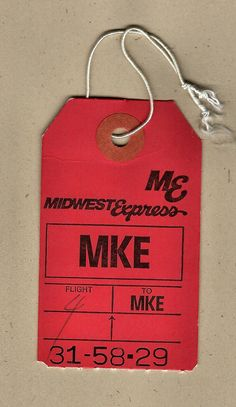 Tag Design, Layout Design, Vintage Airline, Air Lines, Bag Tag, Air Travel, Typewriter, Milwaukee, Ephemera